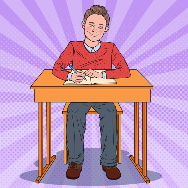 Cartoon boy with school desk vector 04
