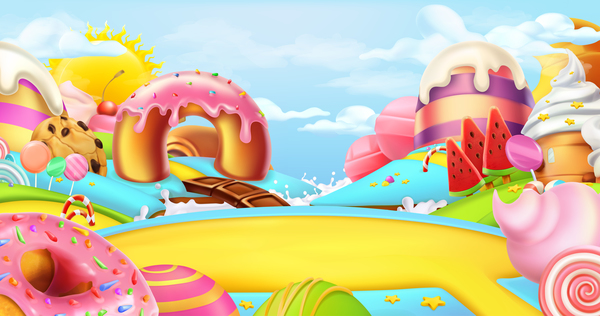 cartoon candy world vector material 01 free download
