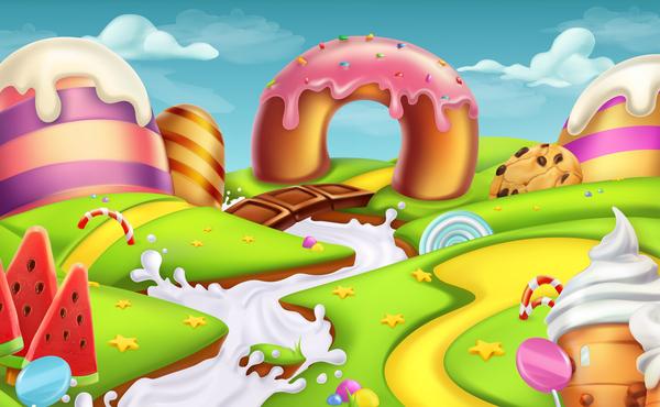 Cartoon candy world vector material 05