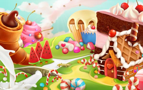 Cartoon candy world vector material 06