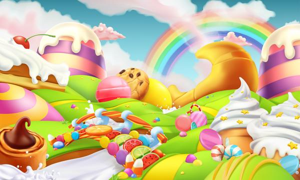 Cartoon candy world vector material 07