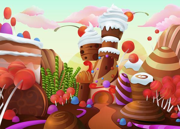 Cartoon candy world vector material 08