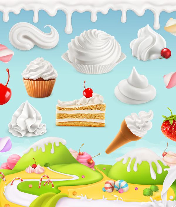 Cartoon candy world vector material 09