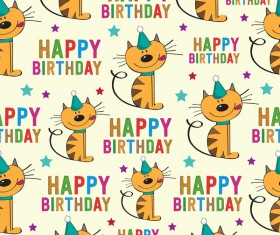 Cartoon cat and happy birthday seamless pattern vector