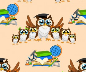 Cartoon owl and education seamless pattern vector