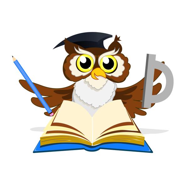Cartoon owl with school background vector 01