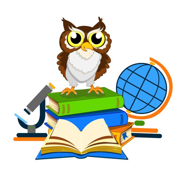 Cartoon owl with school background vector 02