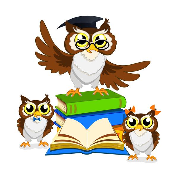 Cartoon owl with school background vector 03