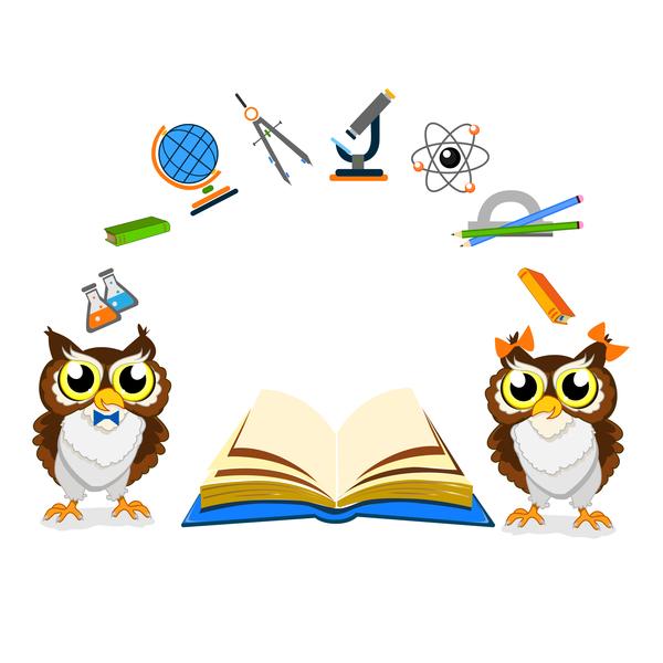 Cartoon owl with school background vector 04