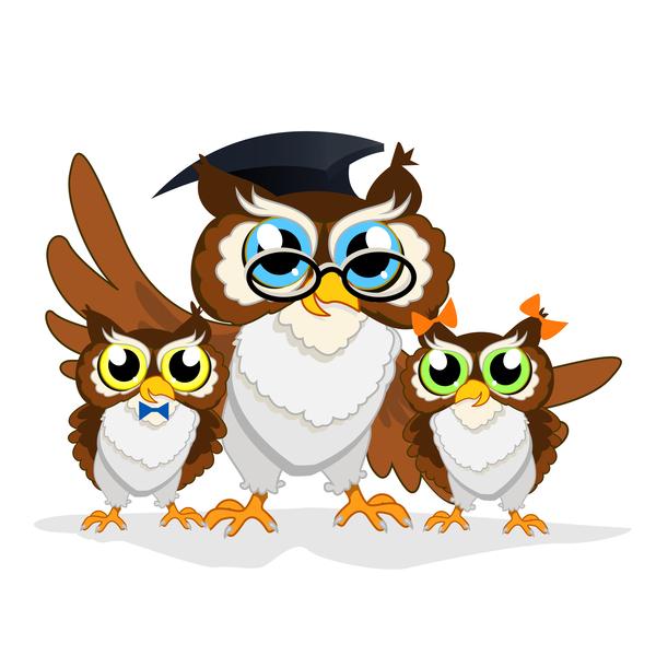 Cartoon owl with school background vector 05