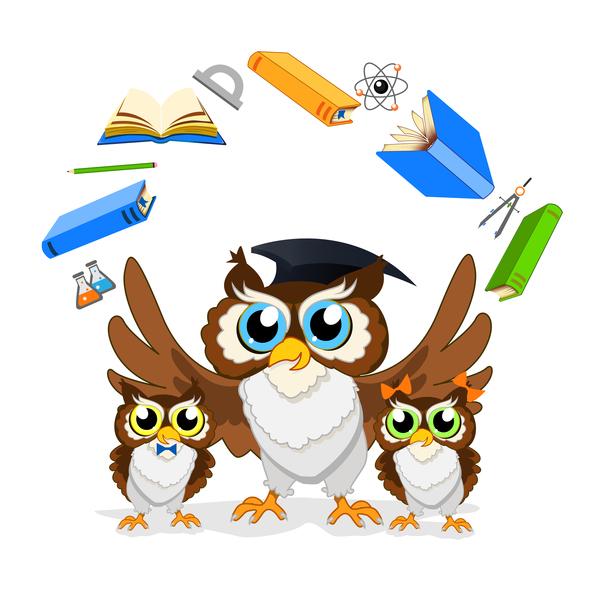 Cartoon owl with school background vector 06