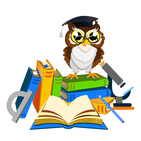 Cartoon owl with school background vector 07