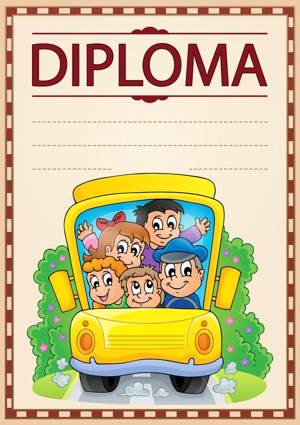 Cartoon styles diploma theme template vectors 01