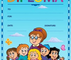 Cartoon styles diploma theme template vectors 02