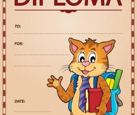 Cartoon styles diploma theme template vectors 07
