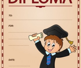 Cartoon styles diploma theme template vectors 10