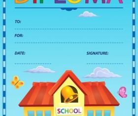 Cartoon styles diploma theme template vectors 11