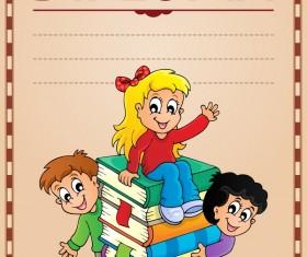 Cartoon styles diploma theme template vectors 15