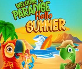 Cartoon summer background vectors material