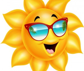 Cartoon sun smiling face vectors 04