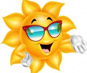 Cartoon sun smiling face vectors 05