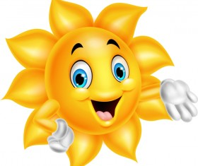 Cartoon sun smiling face vectors 06