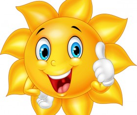 Cartoon sun smiling face vectors 07