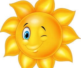 Cartoon sun smiling face vectors 08