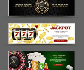 Casino banners design vector set 01