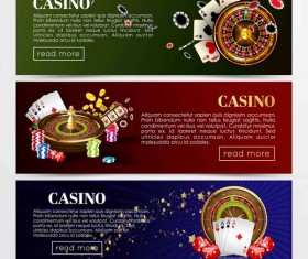 Casino banners design vector set 03