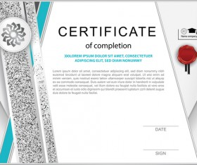 Certificate of completion template vector material