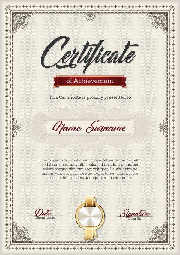 Certificate templete brown vector 02