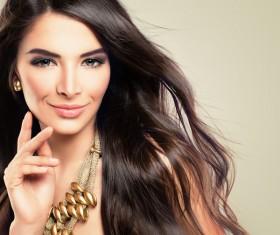 Charming black hair woman fashion model Stock Photo 01