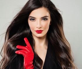 Charming black hair woman fashion model Stock Photo 02