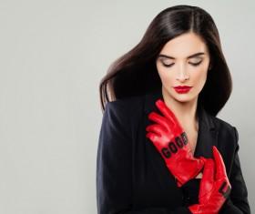 Charming black hair woman fashion model Stock Photo 03
