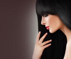 Charming black hair woman fashion model Stock Photo 04