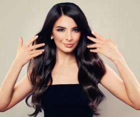 Charming black hair woman fashion model Stock Photo 08