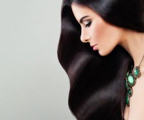Charming black hair woman fashion model Stock Photo 10