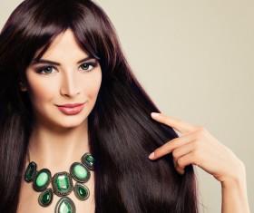 Charming black hair woman fashion model Stock Photo 11