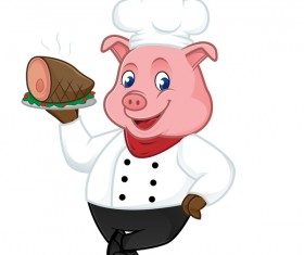 Chef pig cartoon with roasted ham vectors 01