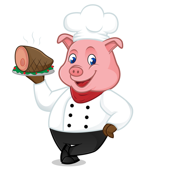 Chef Pig Cartoon With Roasted Ham Vectors 01 Free Download