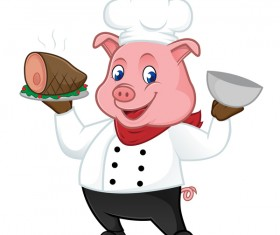 Chef pig cartoon with roasted ham vectors 02