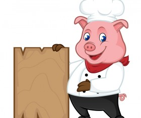 Chef pig cartoon with wooden plank vector 01