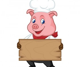 Chef pig cartoon with wooden plank vector 02