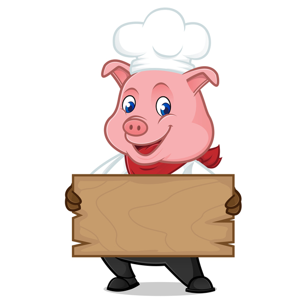 Chef Pig Cartoon With Wooden Plank Vector 02 Vector