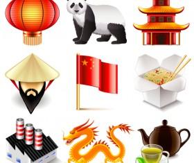 China icons realistic vector set