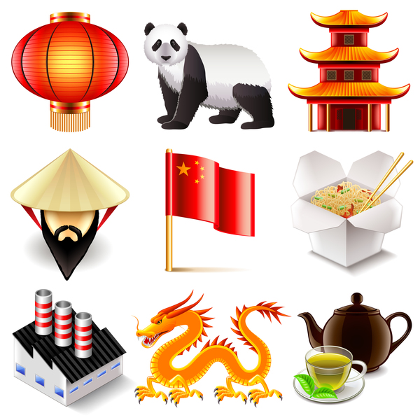 China icons realistic vector set