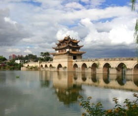 Chinese Yunnan 17 hole bridge Stock Photo