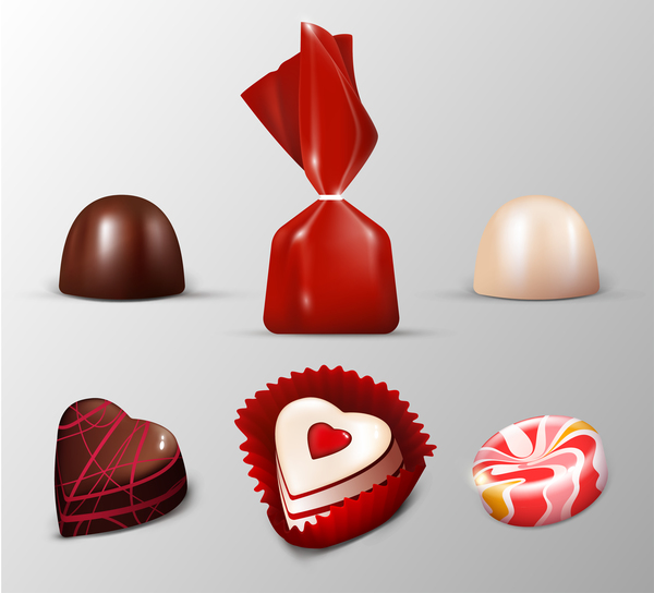 Chocolate with candy icons set