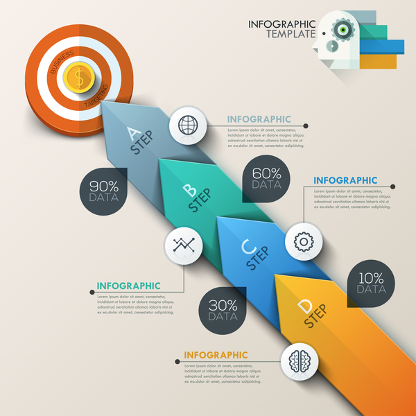 Circle wheel target infographic template vector